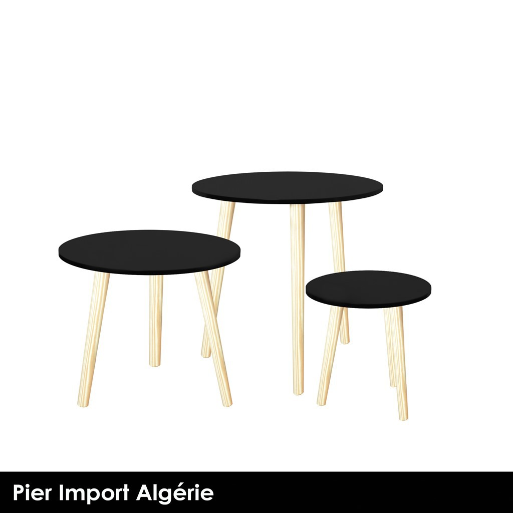 YAMA Table d'appoint noir x3